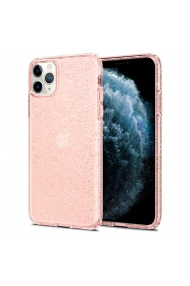 Husa iPhone 11 Pro Spigen Liquid Crystal Glitter Rose Quartz