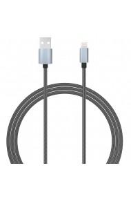 Cablu MFI Lightning Lemontti USB Gri 1.5m (impletitura textila)