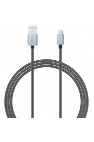 Cablu MicroUSB Lemontti USB Gri 1.5m (impletitura textila)