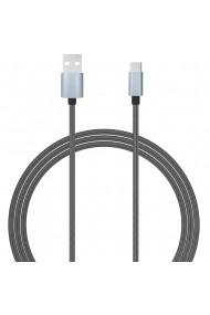 Cablu Type-C Lemontti USB Gri 1.5m (impletitura textila)
