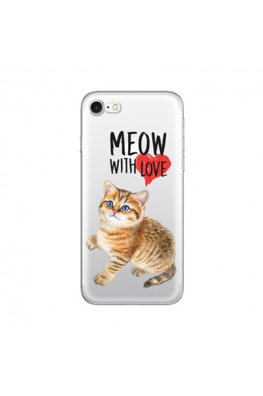 Husa iPhone SE 2 / 8 / 7 Lemontti Silicon Art Meow With Love