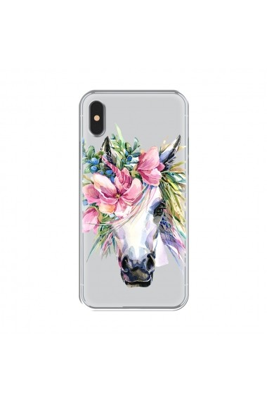 Husa iPhone XS / X Lemontti Silicon Art Watercolor Unicorn