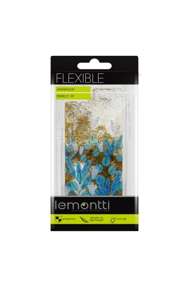 Carcasa iPhone SE 2020 / 8 / 7 Lemontti Liquid Sand Blue Flowers