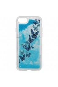 Carcasa iPhone 8 / 7 Lemontti Liquid Sand Butterflies Glitter