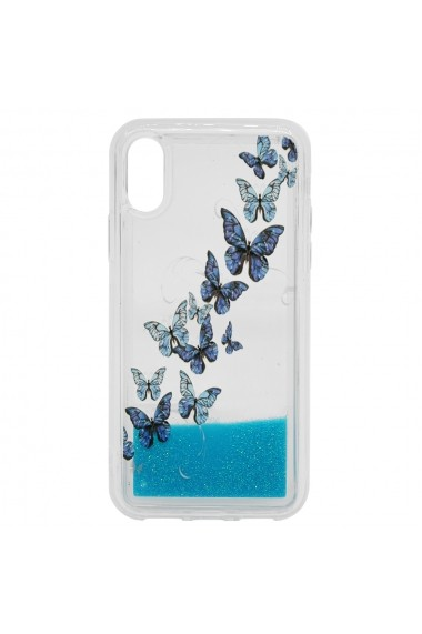 Carcasa iPhone XS / X Lemontti Liquid Sand Butterflies Glitter