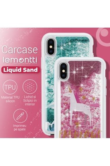 Carcasa iPhone XS / X Lemontti Liquid Sand Unicorn Glitter
