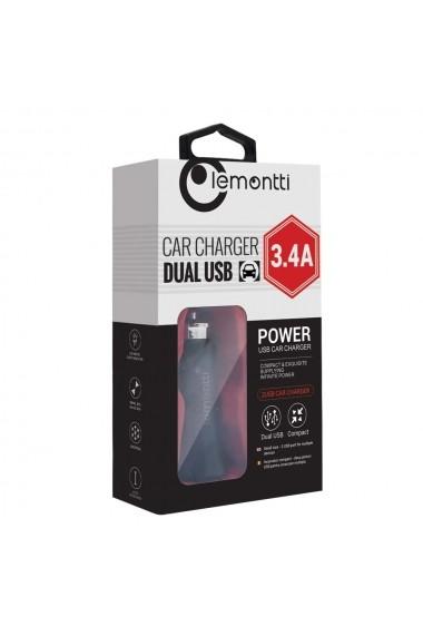 Incarcator Auto Lemontti 3.4A Dual USB Negru