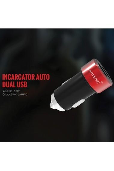 Incarcator Auto Type-C Lemontti 3.1A Dual USB Negru-Rosu (cablu detasabil)