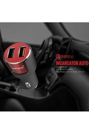 Incarcator Auto MicroUSB Lemontti Qualcomm 3.0 Dual USB Negru-Rosu 3.1A (cablu detasabil)