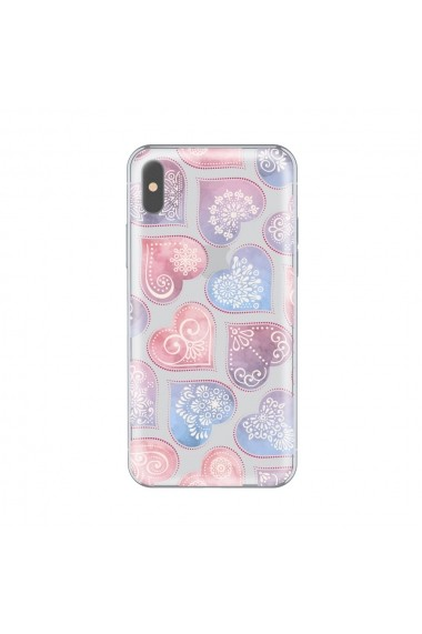 Husa iPhone X Lemontti Silicon Art Hearts