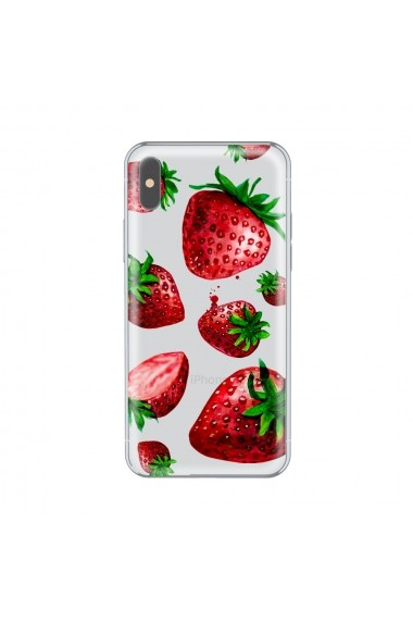 Husa iPhone X Lemontti Silicon Art Strawberries