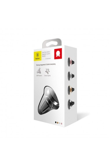 Suport Baseus Auto Small Ears Magnetic Black (rotatie 360  prindere la sistemul de ventilatie)