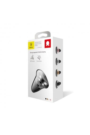 Suport Baseus Auto Small Ears Magnetic Black (piele naturala  rotatie 360  prindere la sistemul de