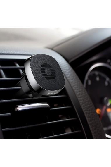 Suport Baseus Auto Privity Magnetic Black (piele naturala  rotatie 360  prindere la sistemul de ven