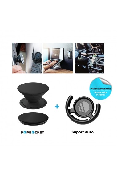 Suport Popsockets PopGrip Luxe Stand Adeziv Hammered Metal Silver