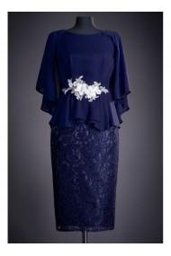 Rochie midi cu accesoriu in talie - Salome 81189 Bleumarin