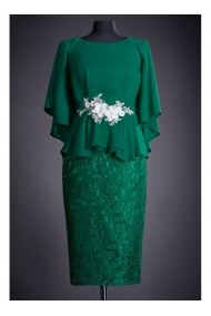 Rochie midi cu accesoriu in talie - Salome 81189 Verde