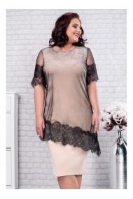 Rochie din lurex cu capa eleganta din tul - Felicia 91366 Crem