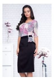 Rochie din stofa si dantela cu accesoriu-Marga 91068 Florala