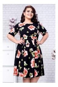 Rochie cu fusta clos si imprimeu floral - Calla 91400