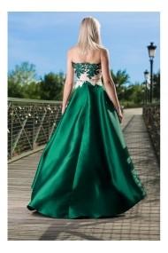 Rochie lunga cu fusta din tafta - Carolina 71981 Verde