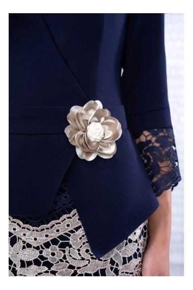 Rochie pe corp cu accesoriu in talie-Paola 91561 Bleumarin
