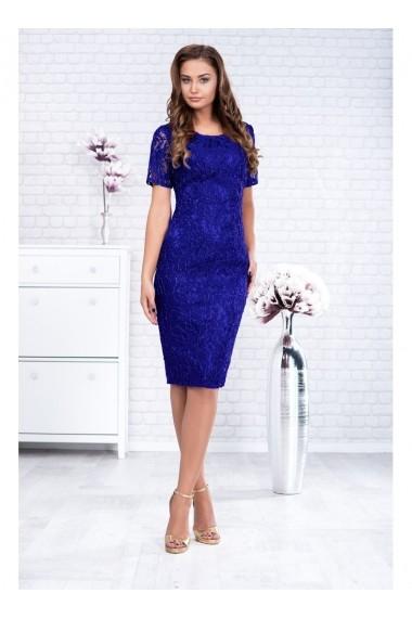 Rochie Per Donna cu maneci scurte din dantela cu fir lame - Marlo 81000 albastru royal