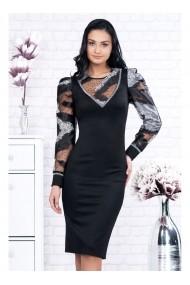 Rochie Per Donna pe corp cu maneci transparente din dantela - Melana Neagra