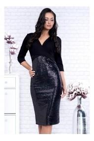 Rochie Per Donna neagra cu bustul petrecut si fusta din paiete - Lisa 91575