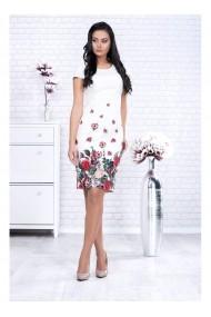 Rochie alba cu imprimeu floral Monica 91480