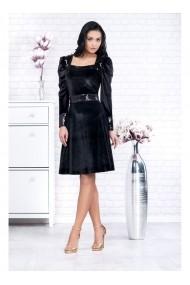Rochie din catifea cu fusta in clos - Caterina 91707 Neagra