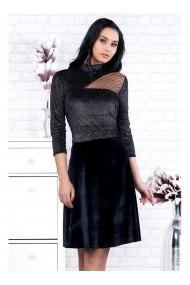 Rochie neagra cu glitter si transparenta pe un umar Kasia 91692 Neagra