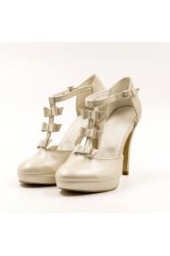 Pantofi cu toc din piele Tungus 01-PRB Bej