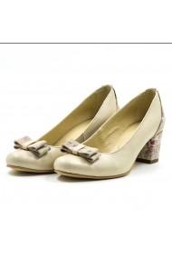 Pantofi cu toc din piele Tungus 01-PCB Bej