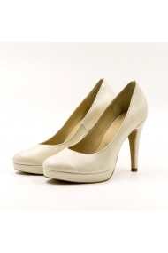 Pantofi cu toc din piele Tungus 01-PPB Bej