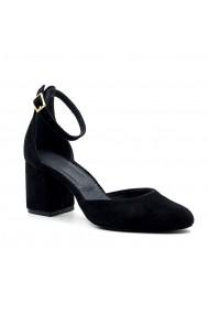 Pantofi cu toc din piele Tungus 01-PDN Negri