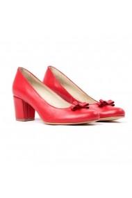 Pantofi cu toc din piele Tungus 01-RSO Rosii