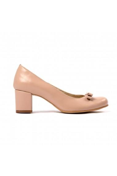 Pantofi cu toc din piele Tungus 01-BLM Bej