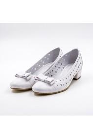 Pantofi din piele TUNGUS 01-PA700 Albi