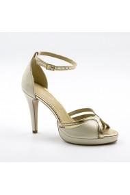 Sandale cu toc din piele Tungus 01-SBA Bej