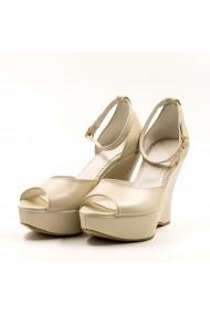 Sandale cu toc din piele Tungus 01-SPO Bej
