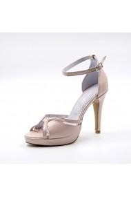 Sandale cu toc din piele Tungus 01-SPB Bej