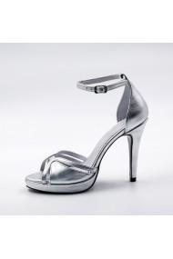 Sandale cu toc din piele Tungus 01-SAP Argintii