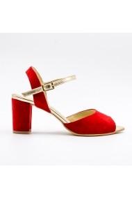 Sandale cu toc din piele Tungus 01-SRE Rosii