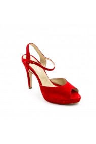 Sandale cu toc din piele Tungus 01-SPR Rosii