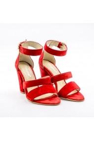 Sandale cu toc din piele Tungus 01-SRV-ROSU Rosii