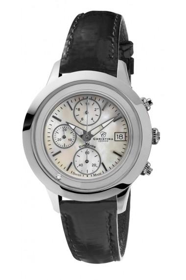 Ceas Swiss Made Chrono Argintiu Curea de piele 1 Diamant