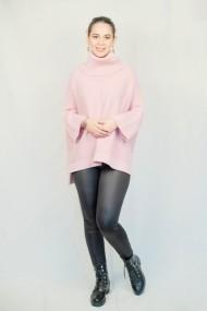 Pulover Carmen Grigoriu over-size cu guler inalt-roz pal