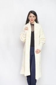 Cardigan Carmen Grigoriu lung white sheep -beige melange