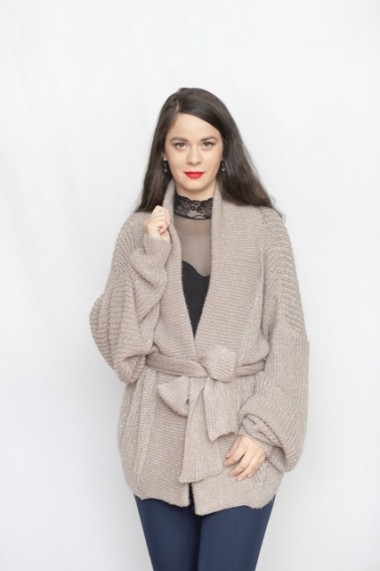 Jacheta Carmen Grigoriu casual cu insertii de paiete-beige